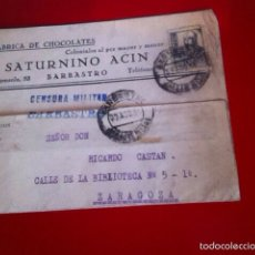Militaria: CARTA ( CENSURA MILITAR ) 1938 GUERRA CIVIL. BARBASTRO. Lote 167147505