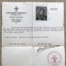 Militaria: NOMBRAMIENTO JEFE DE FALANGE DEL GRUPO DE FLECHAS - GUERRA CIVIL - SANTANDER, 1937. Lote 168042136
