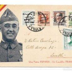 Militaria: POSTAL PATRIOTICA FRANCO - SELLO JOSÉ ANTONIO Y REPUBLICA. Lote 168280860