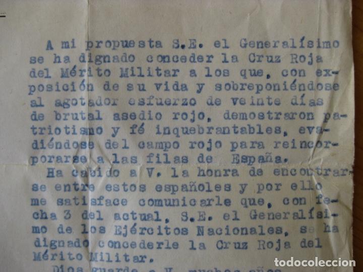 Militaria: DOCUMENTO CONCEDIENDO LA CRUZ ROJA DEL MERITO MILITAR - FIRMA GENERAL JEFE EJERCITO DE CASTILLA - Foto 4 - 169185204