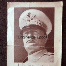 Militaria: (JX-190704)POSTAL CON FIRMA E IMAGEN DE BENITO MUSSOLINI,DEDICADA POR UN CAPITAN C.T.V.GUERRA CIVIL. Lote 170249256