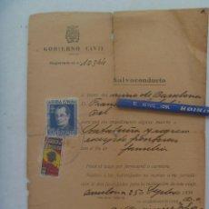 Militaria: POST GUERRA CIVIL : SALVOCONDUCTO . BARCELONA, 1939 . VIÑETAS JOSE ANTONIO Y SUBSIDIO AL COMBATIENTE. Lote 171027623