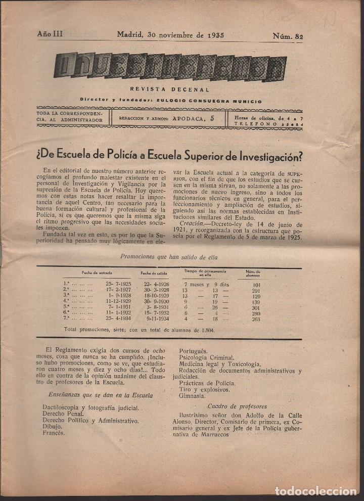 Militaria: INVESTIGACION,VIGILANCIA Y SEGURID- MADRID,30,NOVIEB1933, REPUBLICA-AÑO III-Nº 82,COMPLETO, VER FOTO - Foto 2 - 171230087