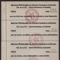 Militaria: MADRID, MILICIAS POPULARES PARTIDO COMUNISTA DE ESPAÑA, HOJA COMPLETA 4 VALES, VER FOTO. Lote 172052752