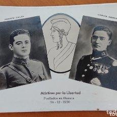 Militaria: POSTAL REPÚBLICA ESPAÑOLA, GALÁN Y GARCÍA HERNÁNDEZ, SIN CIRCULAR. Lote 172163703