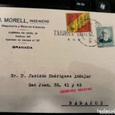 Militaria: J. MORRELL. GRANADA 1936. CENSURA MILITAR. Lote 172308485