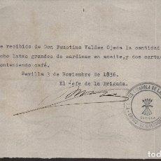 Militaria: SEVILLA, BRIGADA DE INVESTIGACION,F.E.J.O.N.S. DONATIVO LATAS SARDINAS Y CAFE, VER FOTO. Lote 172791465