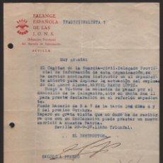 Militaria: SEVILLA, SERVICIO DE INFORMACION, INSTRUCTOR ESP. ACTUACION TRABAJADOR BANCO ALEMAN, VER Y LEER TEXT. Lote 172791867
