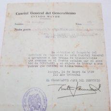 Militaria: PASE TRANSITO A SARGENTO LEGION CONDOR 1939 PARA BUSCAR PADRES . Lote 173624120