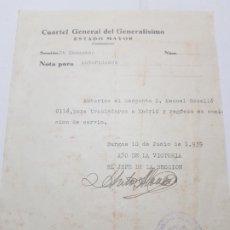 Militaria: PASE TRANSITO A SARGENTO LEGION CONDOR 1939 TRASLADO A MADRID . Lote 173624329