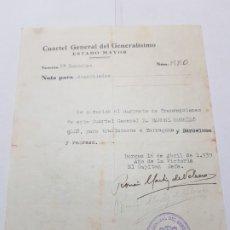 Militaria: PASE TRANSITO A SARGENTO LEGION CONDOR 1939 TRASLADO A TARRAGONA . Lote 173624669