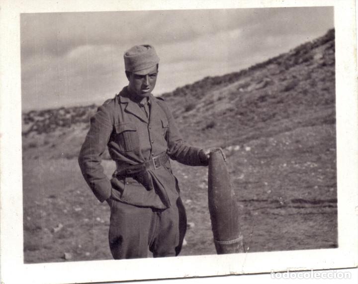 SOLDADO CTV ITALIANO SECTOR ZUERA (ZARAGOZA) PROYECTIL 105 FRENTE ARAGON 1937 GUERRA CIVIL (Militar - Guerra Civil Española)