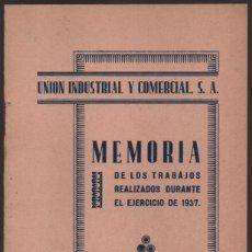 Militaria: SEVILLA.- UNION INDUSTRIAL Y COMERCIAL S.A. MEMORIA EJERCICIO 1937, VER FOTOS. Lote 173927855
