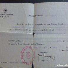 Militaria: EL PEDROSO SEVILLA GUERRA CIVIL SOLICITUD CAMBIO CARNET DE FALANGE 22 SEPTIEMBRE 1936. Lote 174550043
