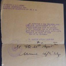 Militaria: MADRID GUERRA CIVIL 3 DE ABRIL 1939 AUTORIZACION A PRACTICANTE HOSPITAL MILITAR SANIDAD MILITAR. Lote 174550225