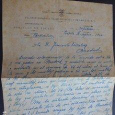 Militaria: PORTILLO TOLEDO CARTA Y SOBRE 1944 FALANGE ESPAÑOLA CON AMENAZAS A REPUBLICANO EN MADRID. Lote 174552705