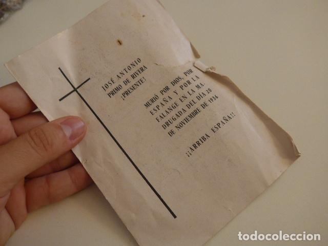 Militaria: Lote de documentos, fotos, postales, recordatorios de falange, Jose Antonio primo de rivera. - Foto 12 - 175159220