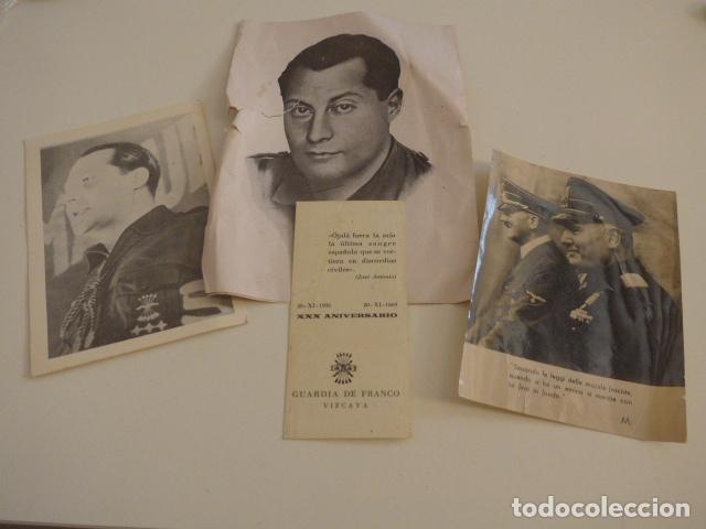 LOTE DE DOCUMENTOS, FOTOS, POSTALES, RECORDATORIOS DE FALANGE, JOSE ANTONIO PRIMO DE RIVERA. (Militar - Guerra Civil Española)
