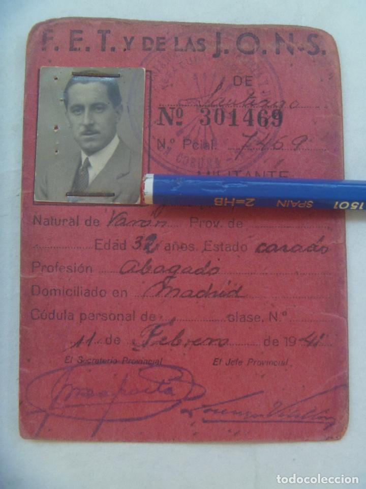 POST GUERRA CIVIL - FALANGE : CARNET PROVISIONAL DE MILITANTE FALANGISTA. MADRID, 1941 (Militar - Guerra Civil Española)