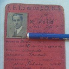 Militaria: POST GUERRA CIVIL - FALANGE : CARNET PROVISIONAL DE MILITANTE FALANGISTA. MADRID, 1941. Lote 175309995
