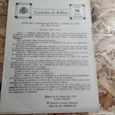 Militaria: ACADEMIA DE RIFFIEN 18 DE FEBRERO 1938. Lote 176291800