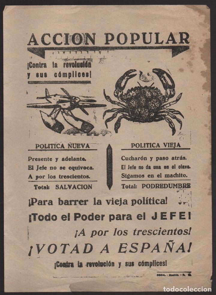 CARTEL- ACCION POPULAR-- CONTRA LA REVOLUCION Y SUS COMPLICES-- MIDE: 22 X 16 C.M. VER FOTO (Militar - Guerra Civil Española)
