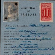 Militaria: CL7-6 GUERRA CIVIL GENERALITAT DE CATALUNYA CARNET DEL CERTIFICAT DE TREBALL 14 SETEMBRE 1938.. Lote 176723267