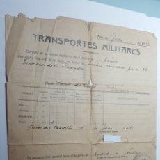 Militaria: TRANSPORTES MILITARES JULIO 1939. Lote 177586823