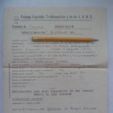 Militaria: GUERRA CIVIL- FALANGE: SOLICITUD INGRESO MILITANTE EX COMBATIENTE RENOVACION ESPAÑOLA. ZAMORA, 1939. Lote 178261476
