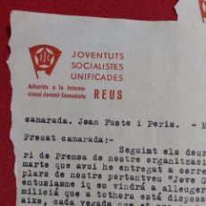 Militaria: CARTA JUVENTUDES SOCIALISTAS UNIFICADAS INTERNACIONAL JUVENIL COMUNISTA REUS. JOVEN GUARDIA. Lote 179044765