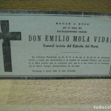 Militaria: ESQUELA DE D. EMILIO MOLA VIDAL - GENERAL INVICTO DEL EJERCITO DEL NORTE. Lote 179094933