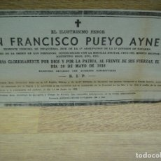 Militaria: ESQUELA DE D. FRANCISCO PUEYO AYNETO TENIENTE CORONEL DE LA 5ª DIVISION DE NAVARRA -. Lote 179100303