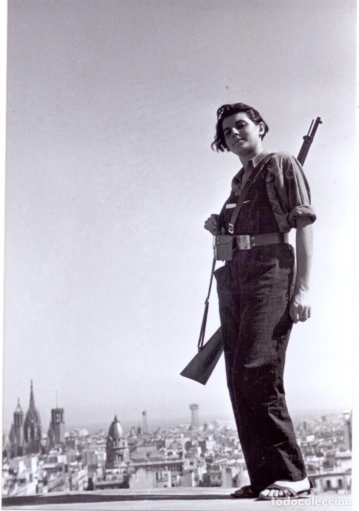 MARINA GINESTA MILICIANA FRENTE POPULAR HOTEL COLON BARCELONA GUERRA CIVIL REPRODUCCION (Militar - Guerra Civil Española)