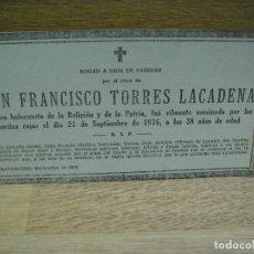 Militaria: ESQUELA GUERRA CIVIL - ASESINADO EN BARBASTRO EN 1936. Lote 180072287