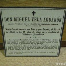 Militaria: ESQUELA GUERRA CIVIL - ALFEREZ DEL REGIMIENTO ZAMORA 29 - CAIDO EN VILLAVONA AÑO 1938. Lote 180073998