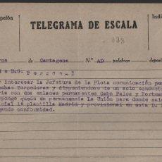 Militaria: TELEGRAMA DE ESCALA.-FLOTA PERMANENTE CON PALO CABO Y PORTMAN, LANCHAS TORPEDERAS,LEER TEXTO. Lote 180413370
