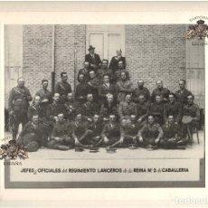 Militaria: JEFES Y OFICIALES DEL REGIMIENTO DE LANCEROS DE LA REINA Nº2 DE CABALLERÍA 38,5X33CM. FOTO ALONSO.. Lote 180417093