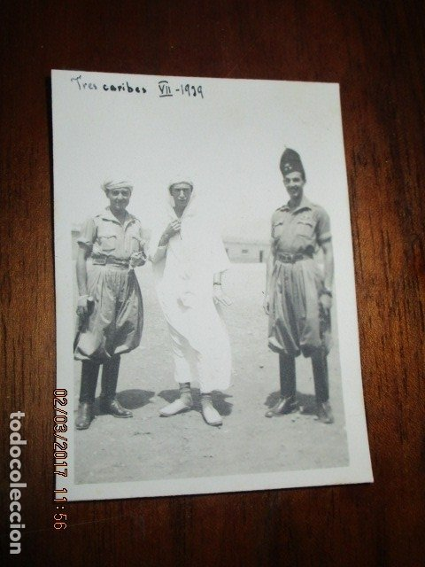 TRES CARIBES REGULARES FIN GUERRA CIVIL FOTO INEDITA REGULARES EX COMBATIENTES LEGION (Militar - Guerra Civil Española)
