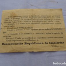 Militaria: * ANTIGUO PASQUIN OCTAVILLA DE CASTELLON, GUERRA CIVIL. CONCENTRACION REPUBLICANA DE IZQUIERDAS. ZX. Lote 181103628