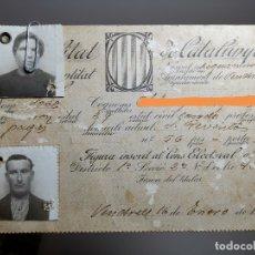 Militaria: CARNET ELECTORAL GENERALITAT DE CATALUNYA EL VENDRELL TARRAGONA 1936 --REF-ZZ. Lote 181949436