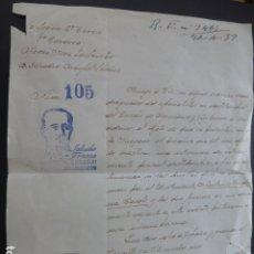 Militaria: ALICANTE CARTA JUEZ LA LEGION 9º TERCIO SOBRE HUELLAS DACTILARES ABRIL 1939. Lote 182989773