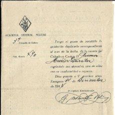 Militaria: C150- ACADEMIA GENERAL MILITAR -LIQUIDACION QUE SE DA AL CADETE RAMON MUÑOZ GLEZ. DEL 31- 12- 1.944. Lote 183426222