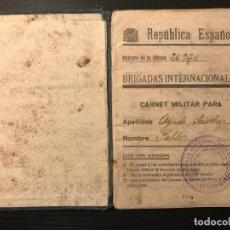 Militaria: BRIGADAS INTERNACIONALES CARNET MILITAR. Lote 183498211