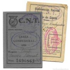 Militaria: CNT - CARTA CONFEDERAL AÑO 1936 - FEDERACIÓN COMARCAL DE JÁTIVA (VALENCIA) - CON ESTATUTOS. Lote 184285563