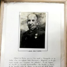 Militaria: FOTOGRAFIA ENMARCADA CON SEMBLANZA DE DON MANUEL MORA FIGUEROA. OFICIAL DE MARINA. GOBERNADOR. CADIZ. Lote 184341071