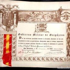 Militaria: DIPLOMA GOBIERNO MILITAR DE GUIPUZCOA. POR SERVICIOS PRESTADOS DURANTE LA CRUZADA. AÑO 1939. Lote 186316217