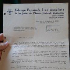 Militaria: CARTA ESCRITA Y FIRMADA POR DORA MAQUEDA SECRETARIA DE FALANGE DANDO CUENTA DE SU CESE AGOSTO 1939. Lote 187567521