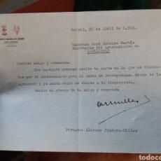 Militaria: CARTA ESCRITA Y FIRMADA POR ALFREDO JIMÉNEZ-MILLAS CON MOTIVO SU NOMBRAMIENTO JUNTA DE RECOMPENSAS. Lote 187569595