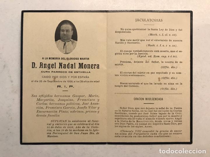 GUERRA CIVIL. ESTIVELLA (VALENCIA) OBITUARIO. CURA PÁRROCO, CAÍDO POR DIOS Y POR ESPAÑA (A.1936) (Militar - Guerra Civil Española)