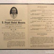 Militaria: GUERRA CIVIL. ESTIVELLA (VALENCIA) OBITUARIO. CURA PÁRROCO, CAÍDO POR DIOS Y POR ESPAÑA (A.1936). Lote 190391018